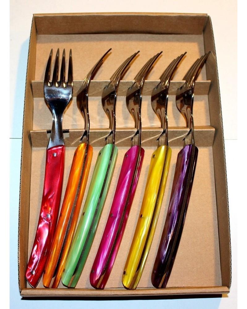 Coffret de 6 couteaux Le Thiers , manche en acrylique ROUGE ALFA
